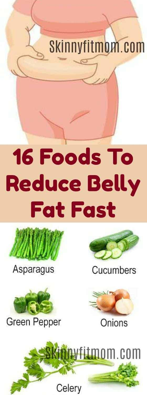 16 best foods to reduce belly fat and lose pounds. Get the best foods to help you slim down here. #bellyfat #burnbellyfat