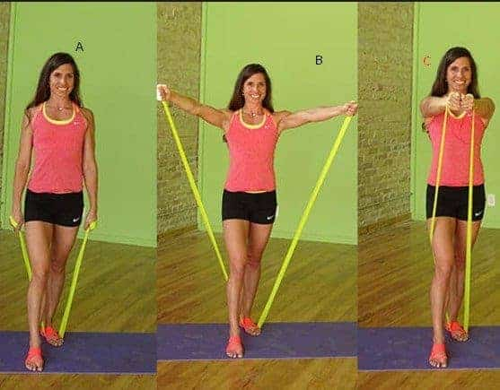 V Shoulder Raise to Chest Press- 7 Best Exercises To Lose Arm And Back Fat