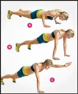 Push-Up With Hand Raise -12 Best Exercises To Get Rid Of Back Fat At Home