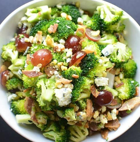 Brocolli salad with Bacon- 8 Quick Low-Carb Dinner Recipes- Simple and Delicious