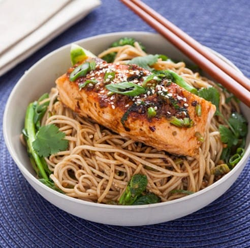 Delicious Salmon Noodle Bowl - 8 Delicious Foods That Will Help You Lose Weight Fast