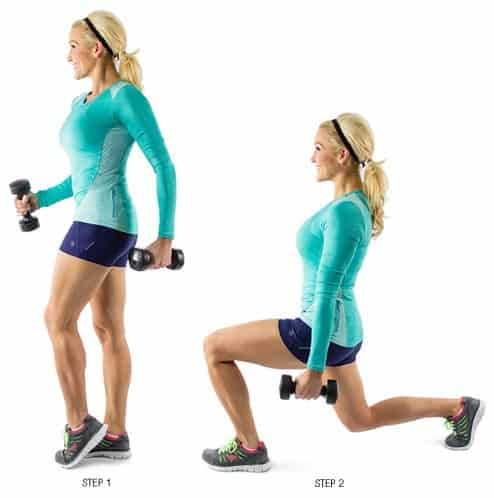 Lunges with Dumbbell- 9 Effective Glute Workouts for Women To Tone, Firm, Lift, Tighten + Make Butt Bigger