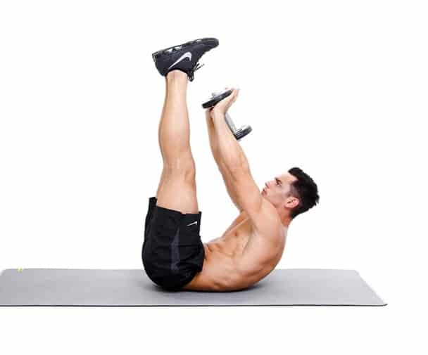 Leg Crunches With Dumbbells- 13 Simple Exercises To Burn Belly Fat Quickly