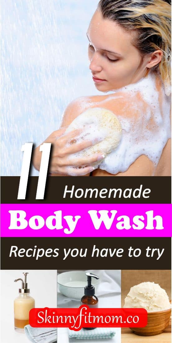 Looking for a good body wash for you? Here are 11 homemade body wash recipes that will give your skin that radiant and glowing look you want. Do you want to try them? Check out this post for the recipes. #bodywashrecipes #skincare #homemadebodywashrecipes