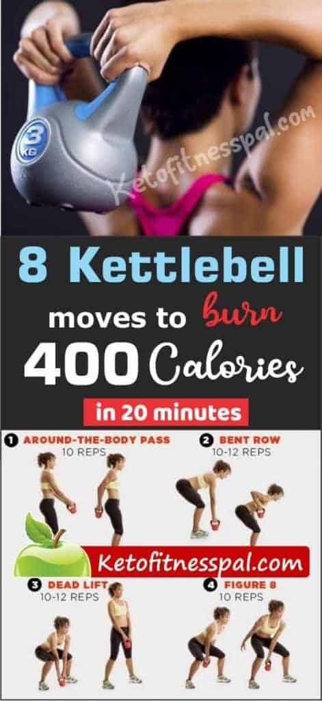 A kettlebell workout is a sure way to torch excess calories fast! This article contains 8 best kettlebell workout moves that burn up to 400 calories in 20 minutes. Try these moves now!