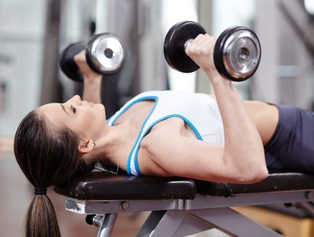 Dumbbell Bench Press- Exercises to lift sagging breasts
