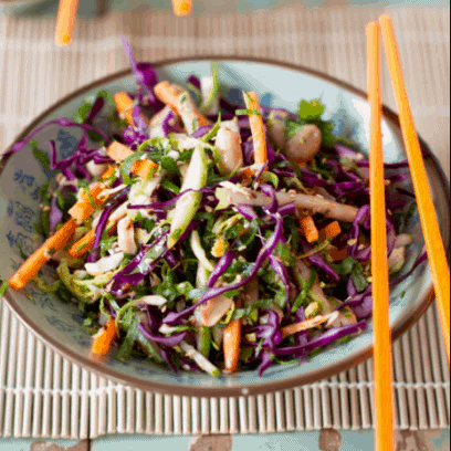 Ginger Asian Slaw - low carb high protein vegan recipes