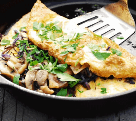 Omelette with mushroom serving and spinach-7 Days Keto Meal Plan