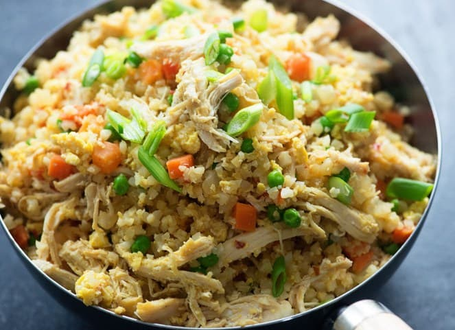 Low-Carb Cauliflower Vegetable Fried Rice with Chicken - Delicious Low Carb Keto Dinner Ideas to Prepare