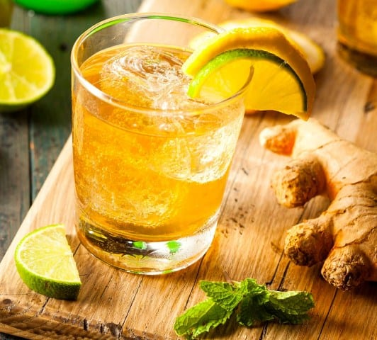 Ginger, Matcha Green Tea, and Lemon Drink for Cleansing and Weight Loss