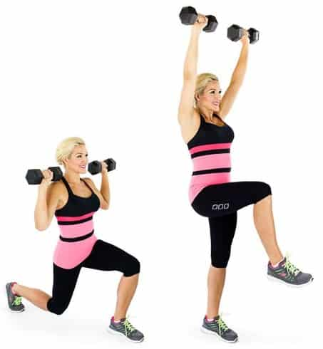 Lunge And Press- Best Butt Lift Workouts