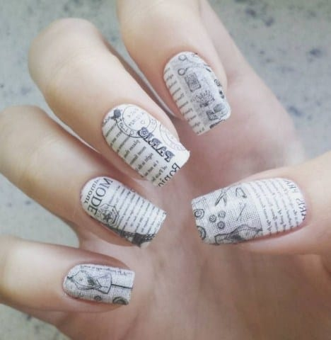 Newspaper Nails - DIY Nail Designs