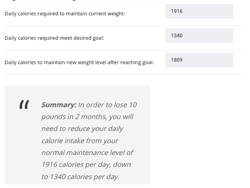 Obtaining The Results - Calorie Deficit Calculator