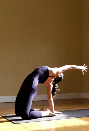 One-armed-camel-pose for relieving menstrual cramps