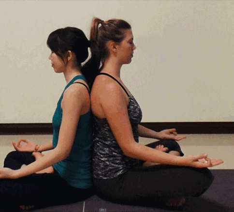 Partner Seated Meditation- Easy two person yoga poses
