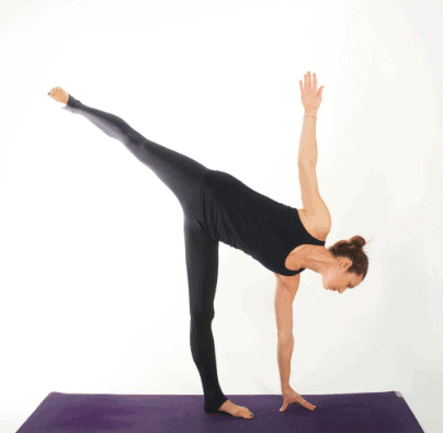 Supported Half Moon Pose to strengthen the knee