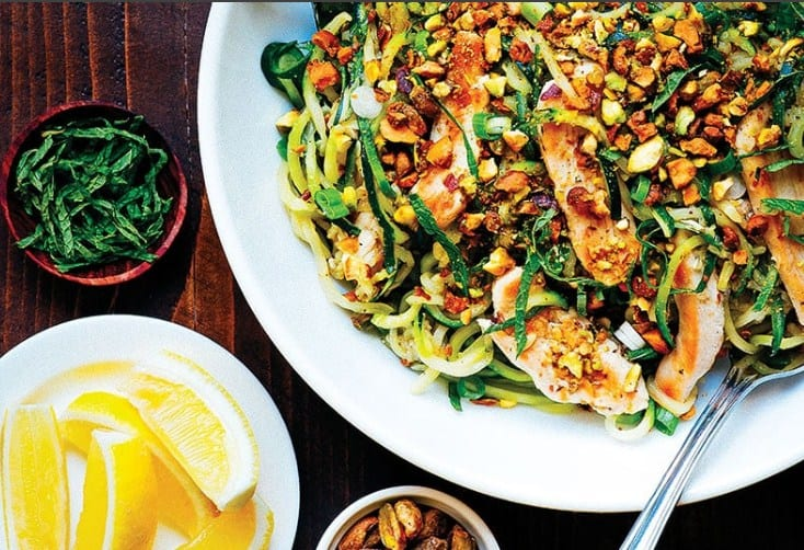 Zucchini Pasta With Chicken Pistachios for Fat Burning