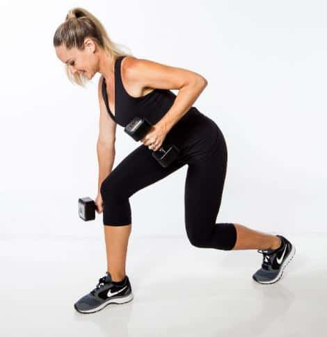 Dumbbell Curtsy Lunge- Exercises to get rid of cellulites on Legs, Back of Thighs and Bum Fast in 7 Days