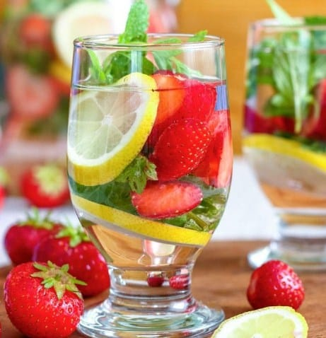 Lemon and Strawberry Water- 10 Best Lemon Water For Weight Loss Cleanse Recipes