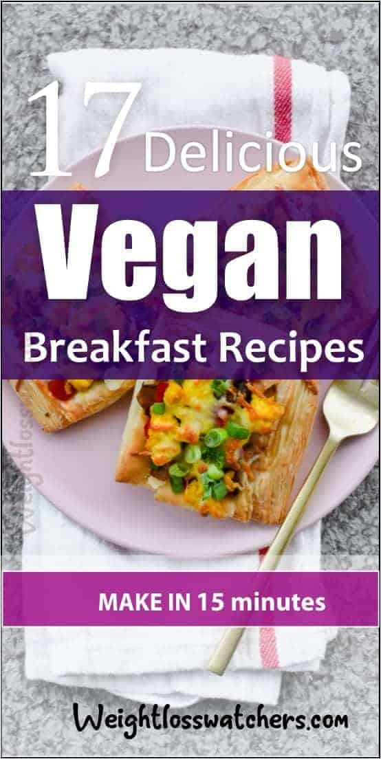 Looking for easy and quick breakfast recipes? Here are 17 delicious vegan breakfast recipes you can make in less than 15 minutes. Check out this post for these recipes.