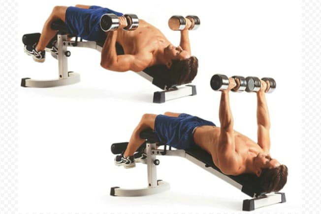 Decline Dumbbell Press- Chest workout routines for building chest mass and strength