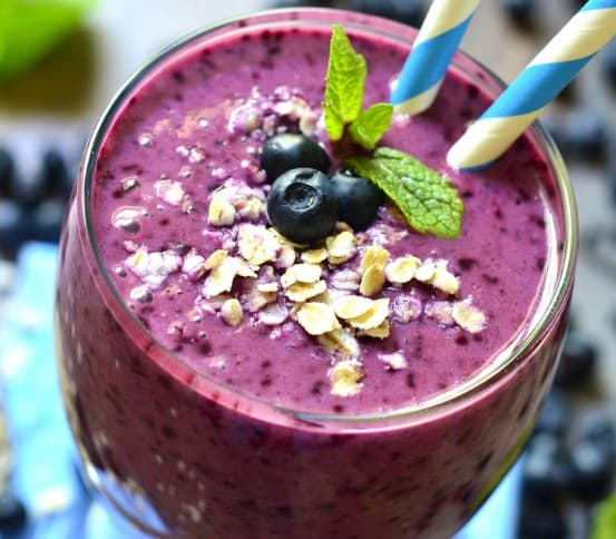 Health Nut Blueberry Smoothie- Easy To Make Vegan Recipes For Breakfast, Dinner Or Desserts