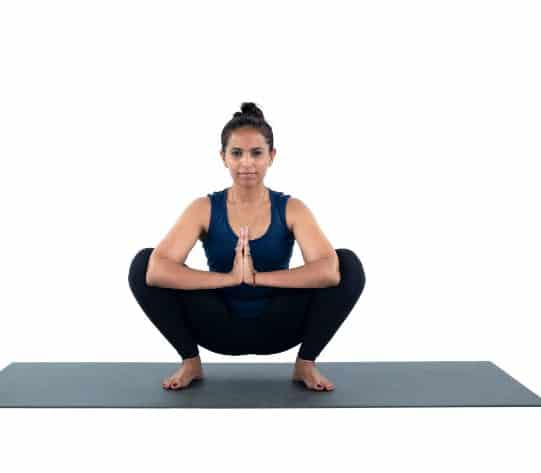 Yoga Pose (Malasana pose) for strengthening muscles and losing thigh fat