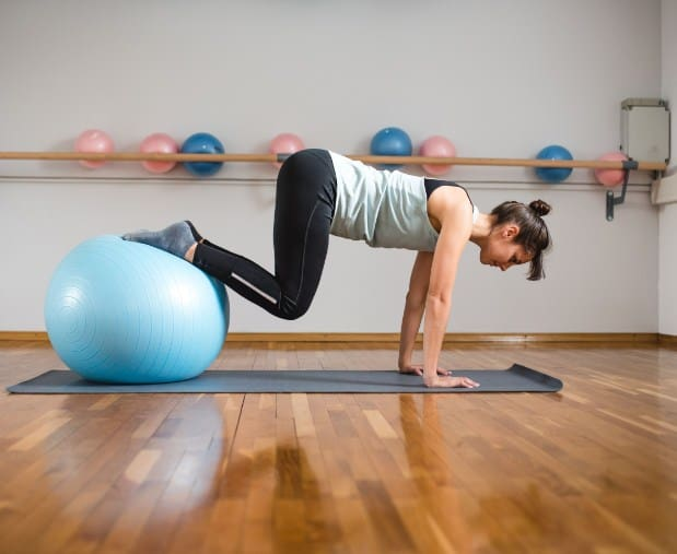 Stability Ball Knee Tucks-Boot Camp Core Workout