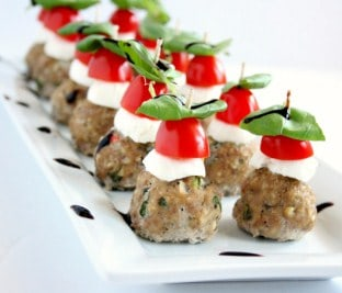 Caprese Meatballs-16 Easy and Quick Low Carb Appetizers