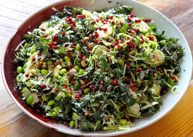 Shredded Kale And Brussel Sprouts Salad-10 Ketogenic Diet Recipes For Your Thanksgiving Dinner