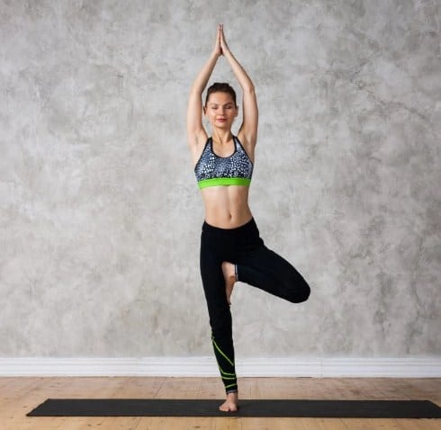 The Tree Pose (Vrikshasana) is an effective way to lose weight and relief stress